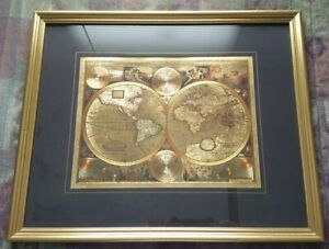 Gold Foil A New And Accvrat Map Of The World Framed Picture 1651 Matted