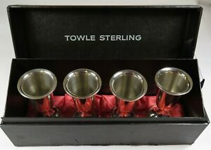 Towle Sterling 58 Set Of 4 Cordial Shot Glasses Vintage Cups W Box Item 25263p