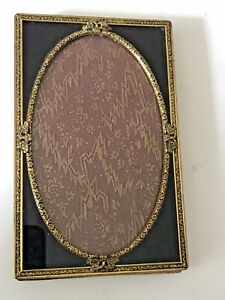 Antique Butterflies Gold Gilt Brass Black Glass Or Jet Easel Picture Frame 5 5