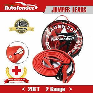 Heavy Duty 2 Gauge 20ft Jumper Booster Cables 800amp Emergency Car Battery Jump