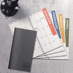 2021 2022 Charcoal 2 year Small Monthly Planner