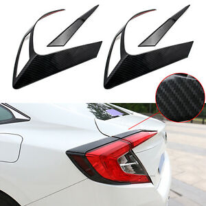 For Honda Civic 10th Carbon Fiber Style Rear Tail Light Cover Trim Frame Molding