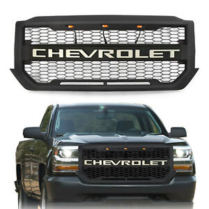 For 2016 2018 Chevrolet Silverado 1500 Front Grille W Silver Letters 3 Lights