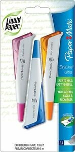Paper Mate Liquid Paper Dryline Ultra Correction Tape Assorted Colors 3 Pack