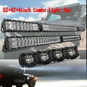 Folding Curved 52inch Led Light Bar Combo 42 4pc 4 Pods Offroad Ute Truck