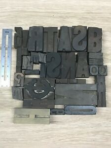 Vintage Letterpress Wood Type Lot Of 30 1 4 Exactly Ones Shown Crafts Diy