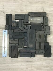 Vintage Letterpress Wood Type Lot Of 39 1 4 Exactly Ones Shown Crafts Diy