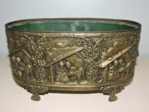 Antique French Jardini Re Planter Embossed Brass With Insert Liner Centerpiece