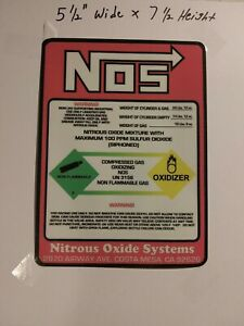 New Nos Replacement 10 Lb Nitrous Bottle Label Sticker Decal Aftermarket