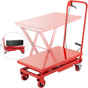 Hydraulic Scissor Cart Lift Table Cart 500lbs Manual Scissor Lift Table In Red