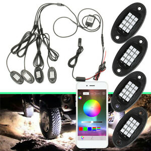 4pcs Neon Led Rock Light Kit Rgb Underglow Lamp Offroad Car Truck Bluetoot App