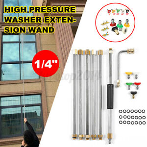 7pcs High Pressure Washer Extension Spray Lance Wand 1 4 With 5x Spray Nozzles