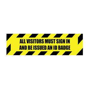 Floor Decals Visitors Must Sign And Be Issued An Id Badge Anti slip Long Shape