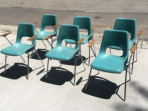 Vintage Brunswick Turquoise Fiberglass School Chairs With Arm Rests Lot Of 6
