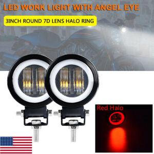 2x Round Led Work Light Offroad Driving Red Halo Angel Eye Motorcycle Atv 4wd Us