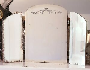 French Chic Vintage Etched Tri Fold 3 Panel Mercury Mirror Vanity Dresser
