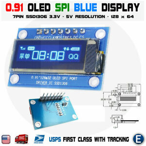 7pin Spi 0 91 Inch Blue 128x32 Oled Lcd Display Screen Ssd1306 For Arduino R3
