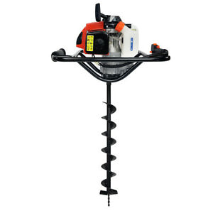 V type 63cc 2 Stroke Gas Post Hole Digger One Man Auger With 4 Auger Bit Kit