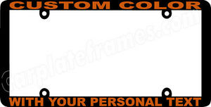 Gold Lettering Thin Style Custom Personalized Color License Plate Frame
