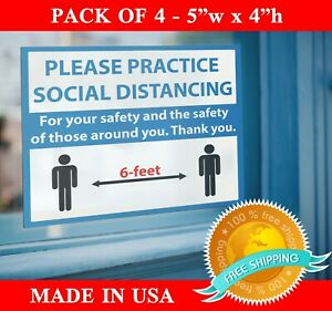 4 Pack Social Distancing Sticker Shop Store Business Office Wall Graphic Sign