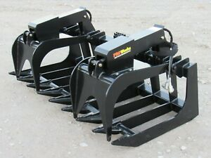 72 Heavy Duty Root Rake Grapple Bucket Attachment Fits Skid Steer Loader 6