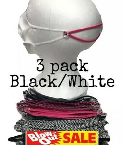 Mask Comfort Head Band Strap Ear Savers Protectors Extender 3 Pack Black white