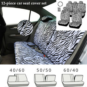 12pcs Car Seat Cover Steering Wheel Cover Seat Belt Armrest Zebra Textured Kit