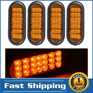 4pcs Amber 6 Marker Light Stop Oval 21led Truck Car Trailer Turn Signal Tail