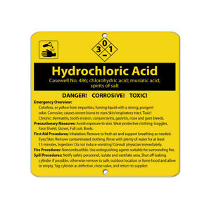 Square Metal Sign Multiple Sizes Hydrochloric Acid Caswell No 486 Chlorohydric