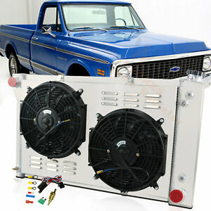3 Row Radiator Shroud Fan Thermostat For 1967 1972 Chevy Gmc C10 C20 K10 Truck