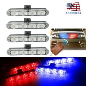 16 Led Red And Blue Strobe Flash Light Dash Emergency Warning Indicator