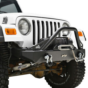 Black Front Bumper With D rings Rock Crawler Fit 1987 2006 Jeep Wrangler Tj yj