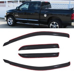 4pcs For 2002 2008 Dodge Ram Quad Cab Sun Rain Guard Vent Shade Window Visors