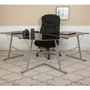 Black Glass L shape Corner Computer Desk W silver Metal Frame