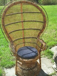 Vintage Mid 1970s Peacock Philippines Rattan Wicker 58 H Chair Footstool Set