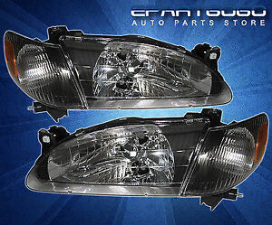 For 98 99 00 Toyota Corolla Black Housing Crystal Jdm Headlights Corner Lamps
