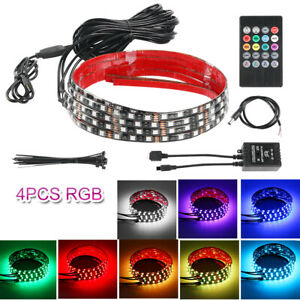 4x Rgb 48 Led Strip Under Car Tube Underglow Underbody System Neon Light Kit Hot