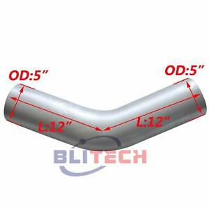 5 Od od 5 Inch Aluminized 45 Degree Exhaust Elbow 12 Inch Arms Pipe