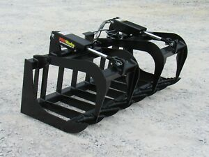 60 Dual Cylinder Root Grapple Bucket Attachment Fits Skid Steer Quick Attach
