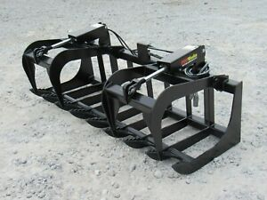 72 Dual Cylinder Root Grapple Bucket Attachment Fits Skid Steer Quick Attach