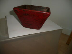 Antique Chinese Rice Bowl Wood Measure Red Paint