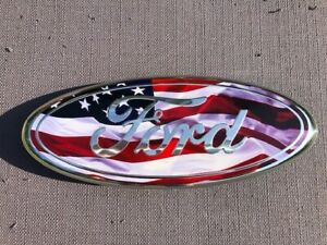 Ford Front Grille Tailgate Set 2 Emblems 9 Oval American Flag Emblems