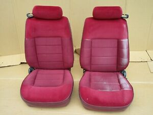 87 93 Mustang Red 4 Cyl Front Seats Oem 1993 Convertible For Parts
