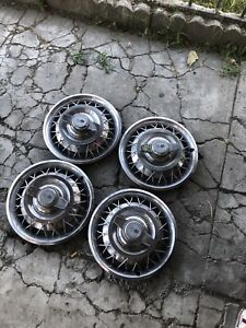 1962 1963 Chevrolet Impala Chevy Ll Nova Corvair 14 Wire Wheel Hubcap Set