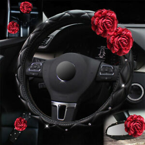 Shiny Rose Leather Steering Wheel Cover Car Accessories Luxury Interior Decor
