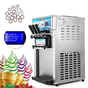 Commercial Soft Ice Cream Making Machine 3 flavor Mix Countertop Soft Maker