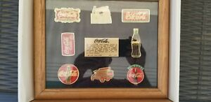 Vintage Limited Edition Coca-Cola Pin Set Wood Frame with Stand 1990s