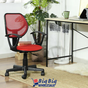 Modern Office Chair Red Mesh Ergonomic Mid back Excecutive Computer Desk Seat
