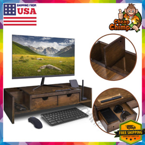 Wooden Desktop Computer Monitor Stand With Drawers Office Decoration Bamboo Wood