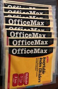 lot 9 Officemax Insertable Index Dividers 3 Sets Of 5 Tabs Multicolor Om99026